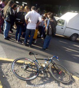 Bicicleta en que desplazaba la victima