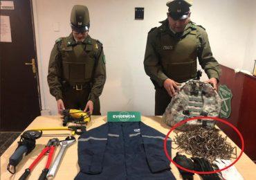 Por porte de objetos que podrían ser utilizados en ilícitos, cinco sujetos son detenidos en Pudahuel