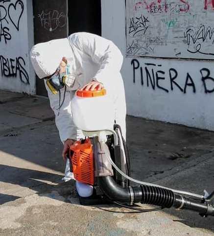 Pudahuel: Colectivo Bicipan y junta de vecinos Marta Brunet realizan sanitización de su sector