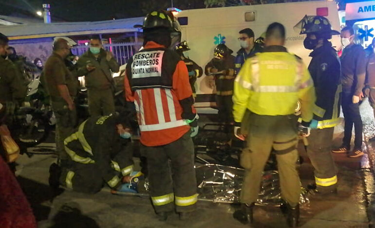 Carabinero en motocicleta sufrió accidente en Pudahuel