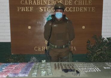 Cocaína y pasta base es incautadas por carabineros en Cerro Navia