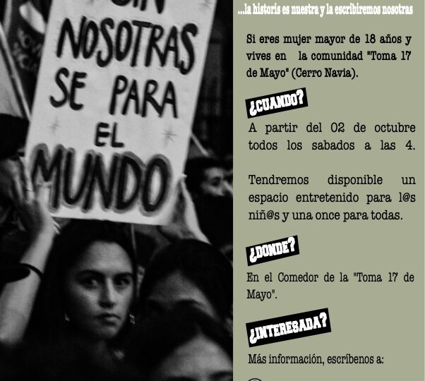 Mujeres de toma 17 de Mayo de Cerro Navia podrán acceder a talleres gratuitos de escritura